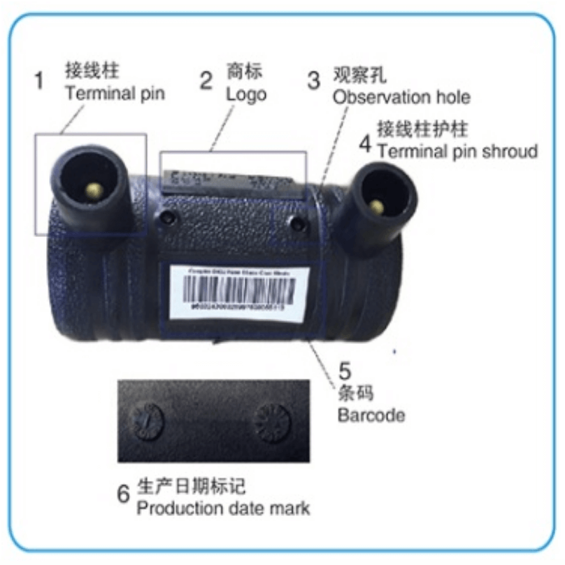 Traceability barcode on HDPE fittings