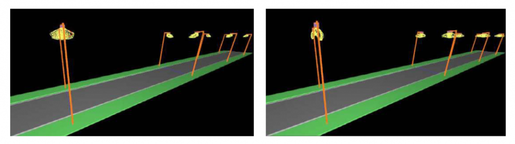 Street view with light distribution curves